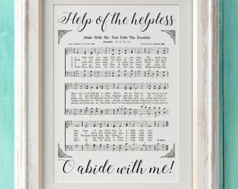 Abide With Me - Hymn Print - Hymn Art - Hymnal Sheet - Home Decor - Music Sheet - Gift - Instant Download - Faith - Inspiration
