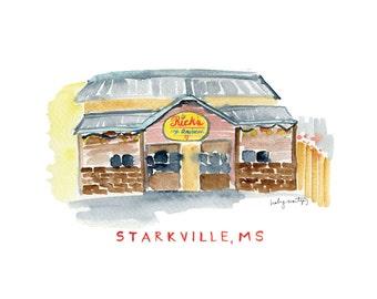 "Rick's Cafe Americain | Starkville Mississippi Restaurant Print | Watercolor Print | 8 x 10"""