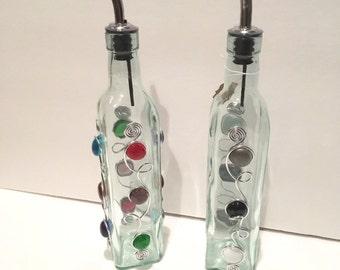 Oil Cruet-Beaded Large 16oz., Vinegar Cruet, Soap Dispenser, Beaded Soap Bottle, Oil Bottle, Vinegar Bottle, Kitchen Gadget, Table Decor,