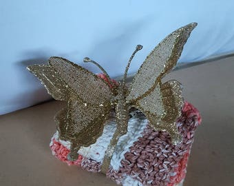 Gift set - 2 dishcloths and ornament, butterfly