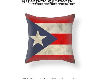 Puerto Rico Flag Pillow Cover, Puerto Rico Throw Pillow, Patriotic Flag Toss Pillow, National Flag Cushion Cover, Red White Blue Pillow