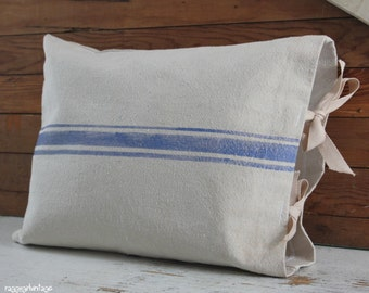 "French grainsack style pillow cover 12x16"", blue grain sack stripes, French cottage, urban farmhouse chic, French market, beach cottage"