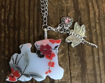 Vintage Broken China Train Necklace