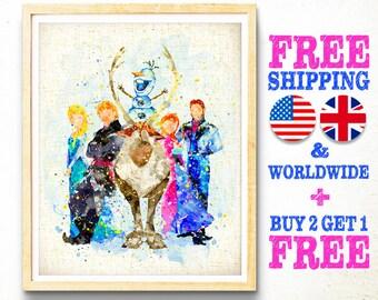 Disney Frozen Print, Princess, Elsa, Anna, Sven, Kristoff, Olaf, Watercolor Art, Kids Decor, Nursery Decor, Wall Art, Christmas Gifts -mf374