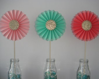 coral pink mint gold glitter table centerpiece stick fan decoration decor birthday wedding baby shower party doily pinwheel paper rosette