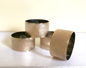 Vintage Brass Napkin Rings /Holders, Set of 4, Textured Brass