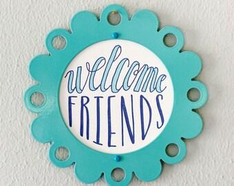 letterpress welcome friends print in steel frame