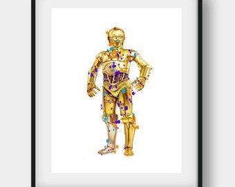 C3PO Print, C3PO Poster, C3PO Art, Star Wars Party, Star Wars Birthday, C3PO, Bedroom Decor, Star Wars Fan Art, Kids Home Decor, C3PO Decor