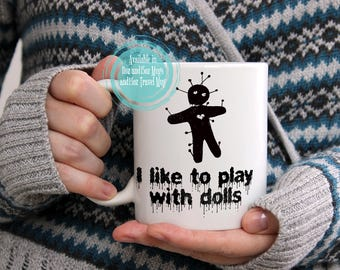 Funny Halloween Mug Gift, Voodoo Doll Coffee Cup Also Available as a Travel Mug!