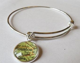 Houston Bracelet, Distance friend, gift for girlfriend, bracelet for women, Mothers Day, Bridesmaid gift, custom map bracelet, family gifts