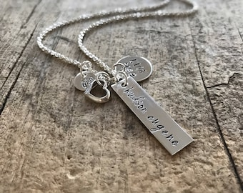 Mother's Day Gift, Sterling Silver Baby Name Necklace, Mommy Necklace, Baby Birth Necklace, Mom Gift, Mother Daughter, Mother Son