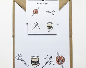 Craft writing set, crafter stationery set, knitting / sewing / craft gift, recycled eco friendly stationery, writing paper, craft stickers