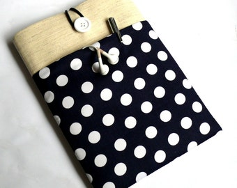 Kindle Case Nexus Sleeve Nook Cover Galaxy Tab, Dell Venue, Lenovo Tab Protective Case - SUPERIOR Shock Absorbent Padding - Navy Polka Dot