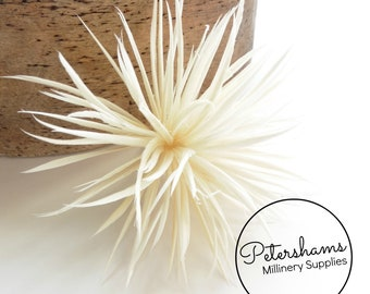 Goose Biot Feather Pom Hat Mount for Millinery, Fascinators & Hats - Ivory