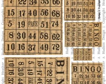 Dollar Download Vintage Natural Bingo cards Digital Collage sheet Printable