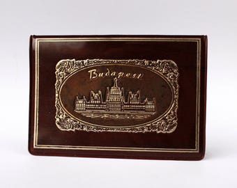 Budapest souvenir plastic billfold wallet, vinyl reddish brown wallet with gold embossed Budapest city view , NOS vintage billfold