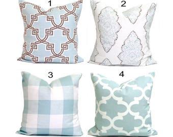 Pillow, Throw Pillow, Pillow Cover, Cushion, Decorative Pillow,Blue Pillows, Blue, Snowy Blue  Pillow.Spa Blue Toss. All Sizes, Cushion,cm