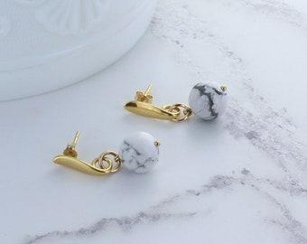 Gold Howlite Drop Earrings