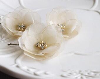Wedding Hair Flower Pins, Champagne  Bridal Flower Pins,  Bridal Hair Pins, Wedding Headpiece Bridal Headpiece Hair Accessories Fabric