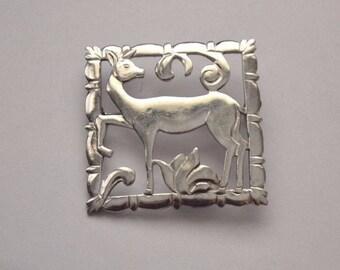 Vintage Danish Modernist Sterling Silver Deer Brooch
