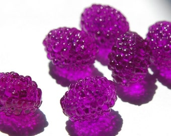 Vintage Purple Oval Bumpy Textured Plastic Beads (6) bds791B