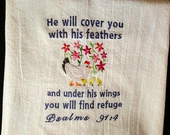 Scripture towel, flour sack towel, Bible verse, hen and chicks, tea towel, dish towel, kitchen towel, Psalm 91:4, machine embroidery