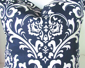 NAVY BLUE PILLOWS Blue  Decorative Throw Pillow Covers Navy Blue  16x16 18 20 damask Throw Pillow Covers Fabric Front & Back Home and living