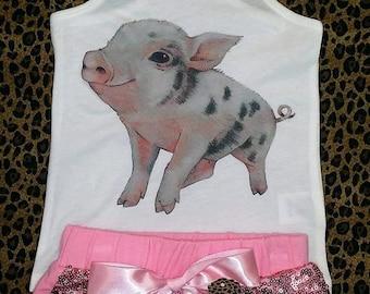 Cute Pig Short Set