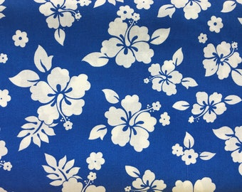 Blue and white Hawaiian fabric by the yard - Hawaiian shirt fabric - luau fabric - island hibiscus fabric - Hawaiian fabric #17083