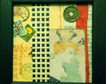 Framed Mixed Media Collage  -Far East