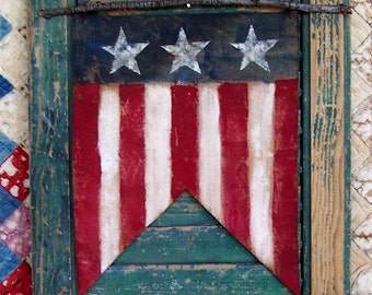 American Flag Banner, Flag Wall Hanging, Painted Flag Pennant, Rustic Decor, Americana Farmhouse, Primitive Wall Decor - READY TO SHIP