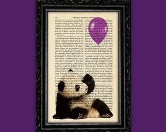 Panda Bear Purple Balloon Print Animal Panda Poster Book Art Dorm Gift Print Wall Decor Poster Dictionary Print Animal Print (Animal Nº43)