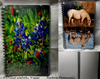 8 x 5 Notebook with 75 lined pages by FireHorse Photography