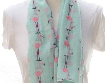 Aqua flamingo Scarf shawl, Beach Wrap, Cowl Scarf, aqua flamingo print scarf, cotton scarf, gifts for her