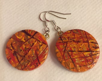 Hand painted wooden earrings colourful