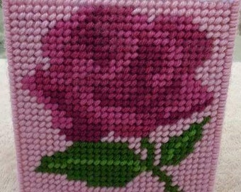 LARGE SHADED ROSE - Tissue Box Cover - Great Mothers Day Gift - Needlepoint on Plastic Canvas