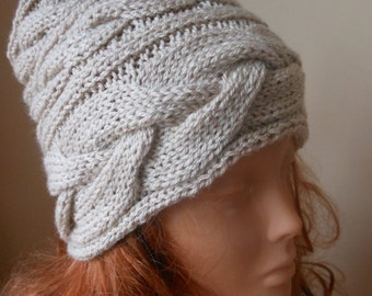 Cable Knit Hat Hand Knit Slouchy Beanie Hat Acrylic Beige
