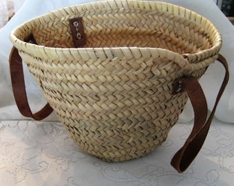 Vintage Wicker Woven Market Bag Leather Handles Natural Woven Straw Handbag French Farm Market Bag Tote Bag Bohemian Style Purse