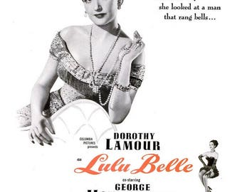 1948 Dorothy Lamour Lulu Belle Movie Ad Vintage Sarong Queen Old Hollywood Glamour New Orleans Showgirl Burlesque Saloon Night Club Wall Art