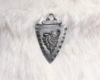 Metal Arrowhead Wolf Pendant