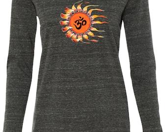 Ladies Shirt Ohm Sun Tri Blend Hoodie Tee Shirt - W3101-OMSUN