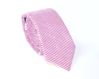 Fuchsia Seersucker Tie hot pink seersucker tie Mens Neckties mens ties Skinny Ties extra long tie Tall tie Fuchsia and White Striped Tie