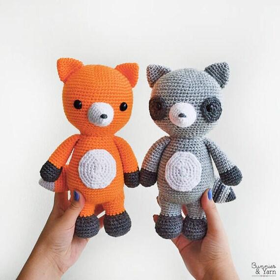 Patrón de Crochet en Inglés Mac el Mapache y Bruno el Zorro