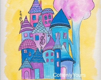 Watercolor Print -Whimsy House - Blue and Purple