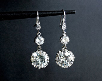 Wedding Chandelier Earrings, Swarovski Crystal Cubic Zirconia Drop Earrings - Dangling Droplets