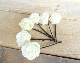 Ivory Rose Wedding Hair Pins, Ivory Bridal Hair Pins, Flower Girl Hair Accessories, Bridesmaid Hair, Beach Weddings, Woodland - Set of 8