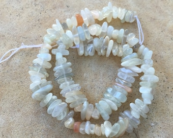 Moonstone Nuggets, White and Multi Toned Moonstone, 16 inch strand, 8 to 15 mm