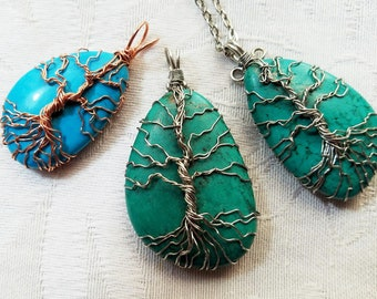 Wire Wrapped Tree of Life Gemstone Magnestie Teal Turquoise Copper Silver With Chain Shipping Free US