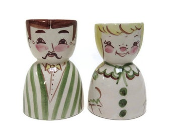 Vintage Cleminson Pottery Mr and Mrs Egg Cups Easter Egg Holder Man and Woman