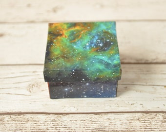 Astronomy Gift Box- made with real pictures from space | Geeky Wedding Gift | Space Gift | Galaxy Jewelry Box | Constellation | Star Gazer